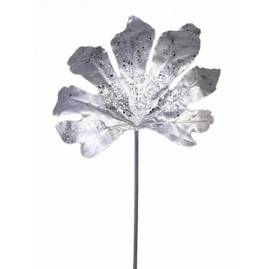 Aralia Glitter Blad Zilver 55 Cm Speelgoedpostorder kopen