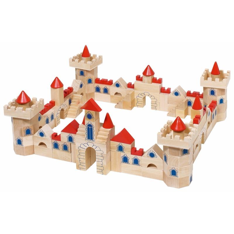 Houten bouwblokken kasteel voor kinderen 145-delig