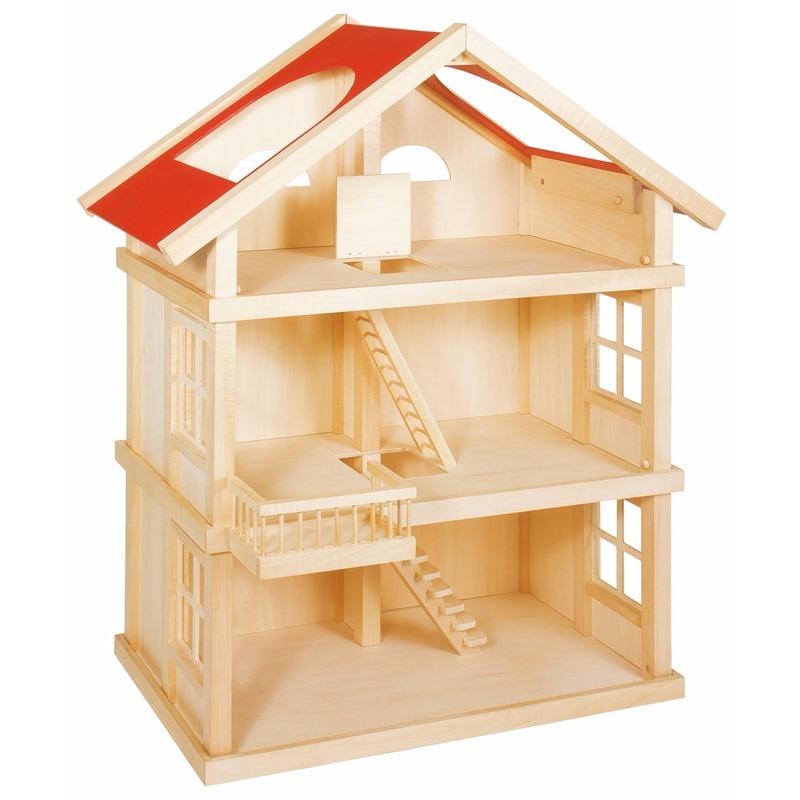Houten poppenhuis met 2 verdiepingen
