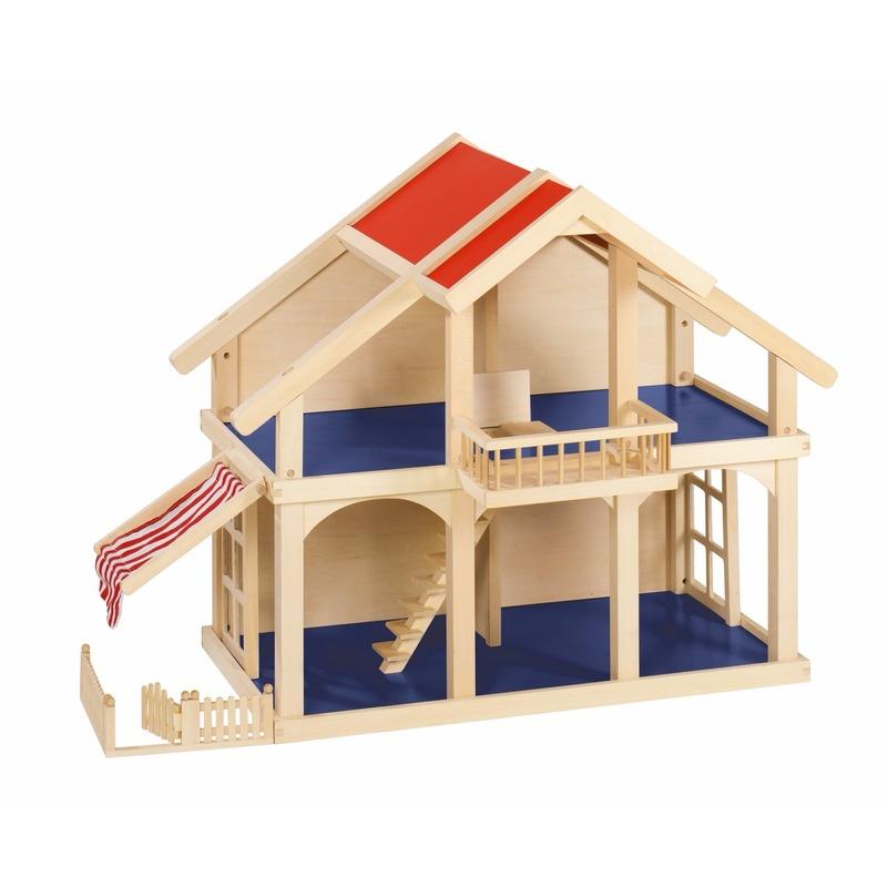Houten poppenhuizen met balkon en veranda