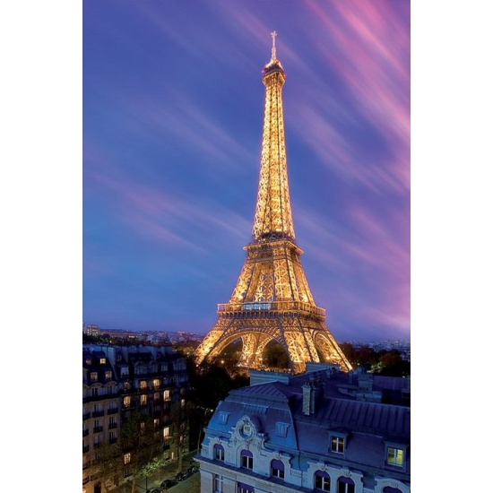 Eiffeltoren poster 61 x 91,5 cm. grote poster met een afbeelding van de eiffeltoren in de avond. de poster ...