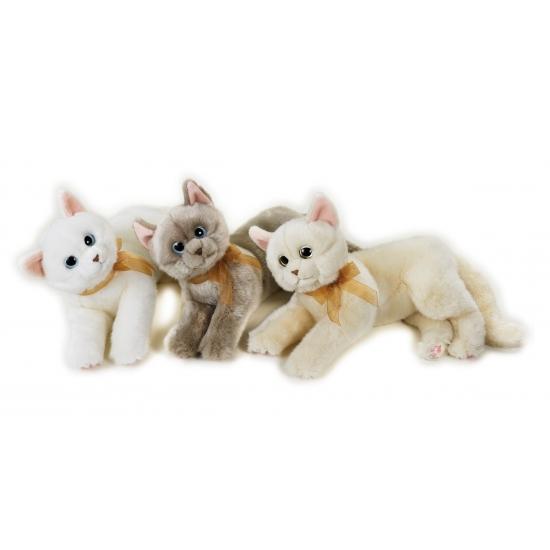 Katten knuffel liggend wit 34 cm. mooie zachte knuffel van een poes. de knuffel heeft veel details zoals de ...