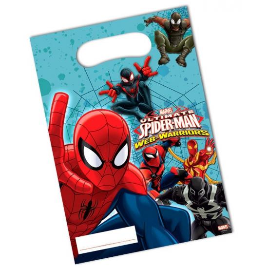 Spiderman thema feestzakjes 6 stuks. deze plastic feestzakjes met plaatjes van spiderman zijn verpakt per 6 ...