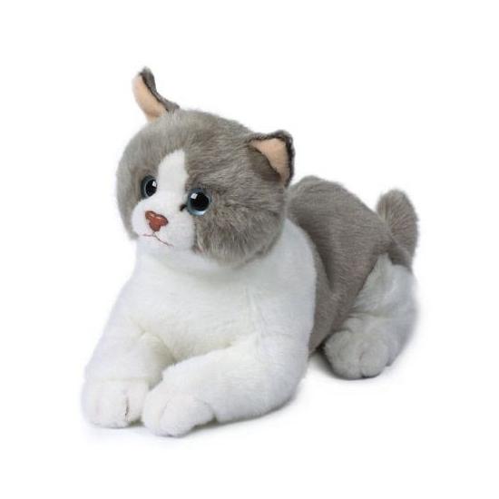 Pluche liggende wit/grijze kat knuffel 20 cm. deze pluche liggende kat knuffel heeft een lengte van 20 cm en ...