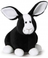 Knuffel konijn zwart met wit 16 cm