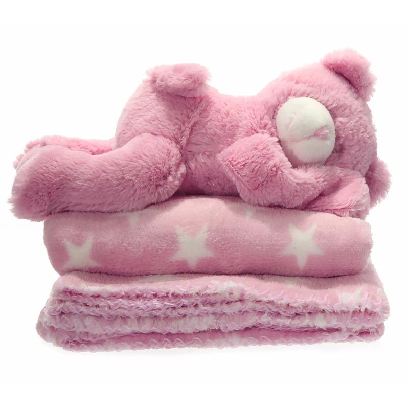 Baby Geboorte Cadeau Roze Deken En Beertje