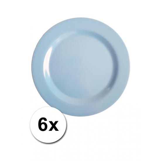 Blauwe Picknick Bordjes 6 Stuks 20 Cm