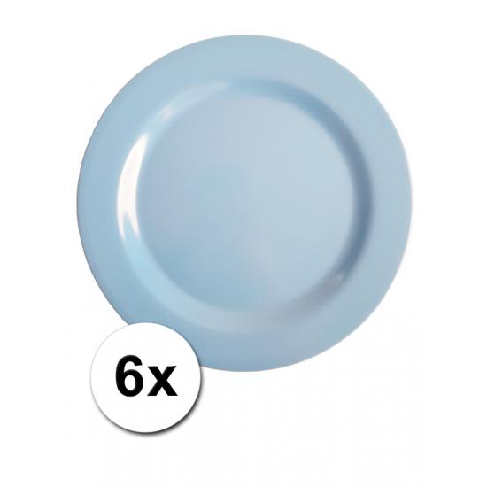 Blauwe Picknick Bordjes 6 Stuks 25 Cm