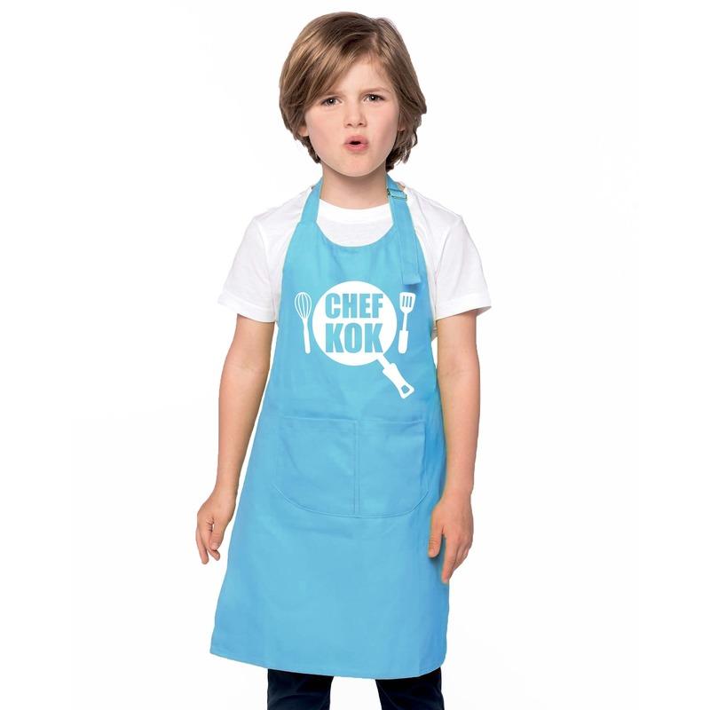 Chef kok kinderschort blauw jongens en meisjes