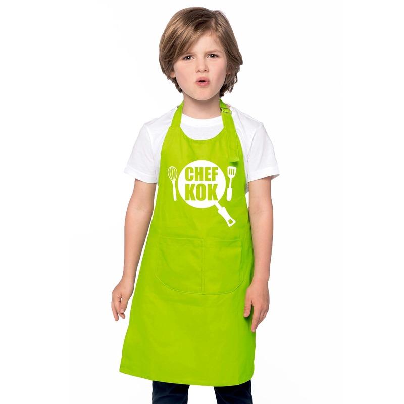 Chef kok kinderschort lime groen jongens en meisjes