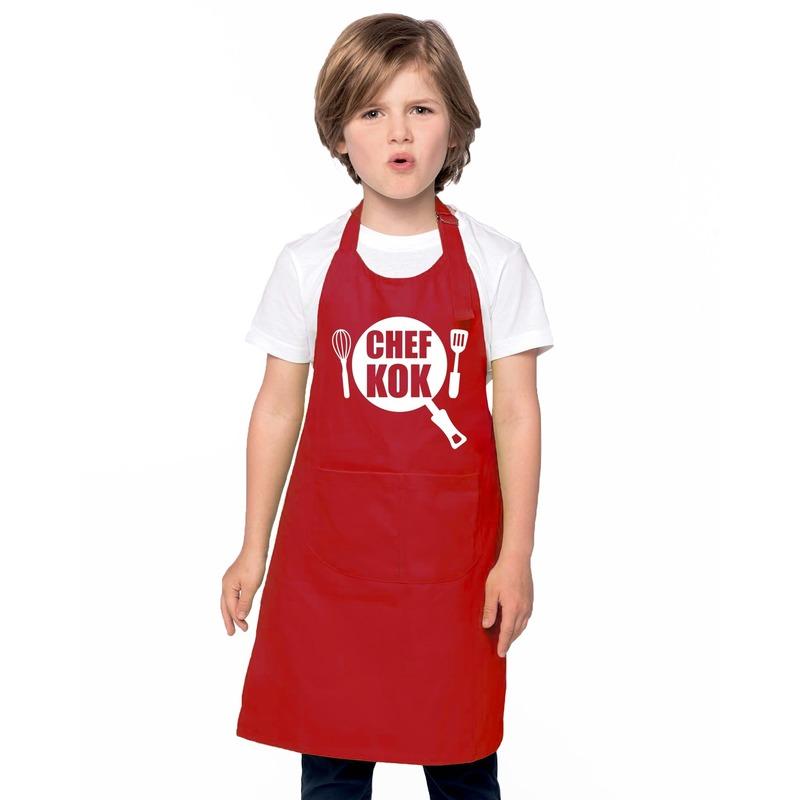Chef kok kinderschort rood jongens en meisjes