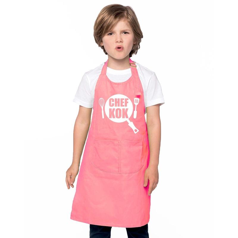 Chef kok kinderschort roze jongens en meisjes
