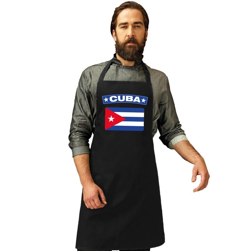Cuba vlag barbecueschort/ keukenschort zwart volwassenen