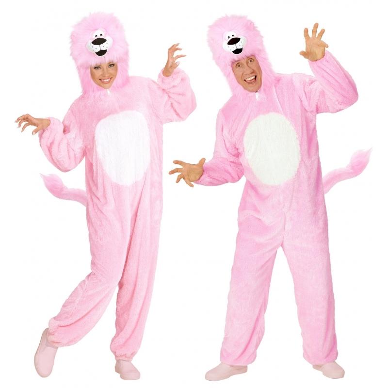 Dierenpakken roze leeuw overall
