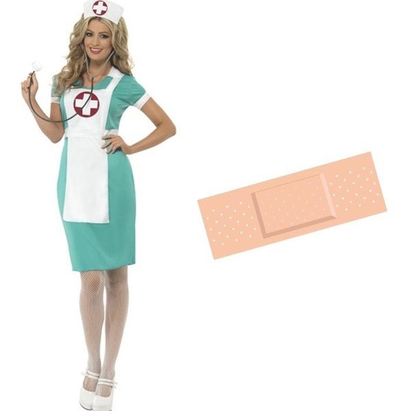Feest groene verpleegsters/zusters outfit 36/38 met pleister sticker