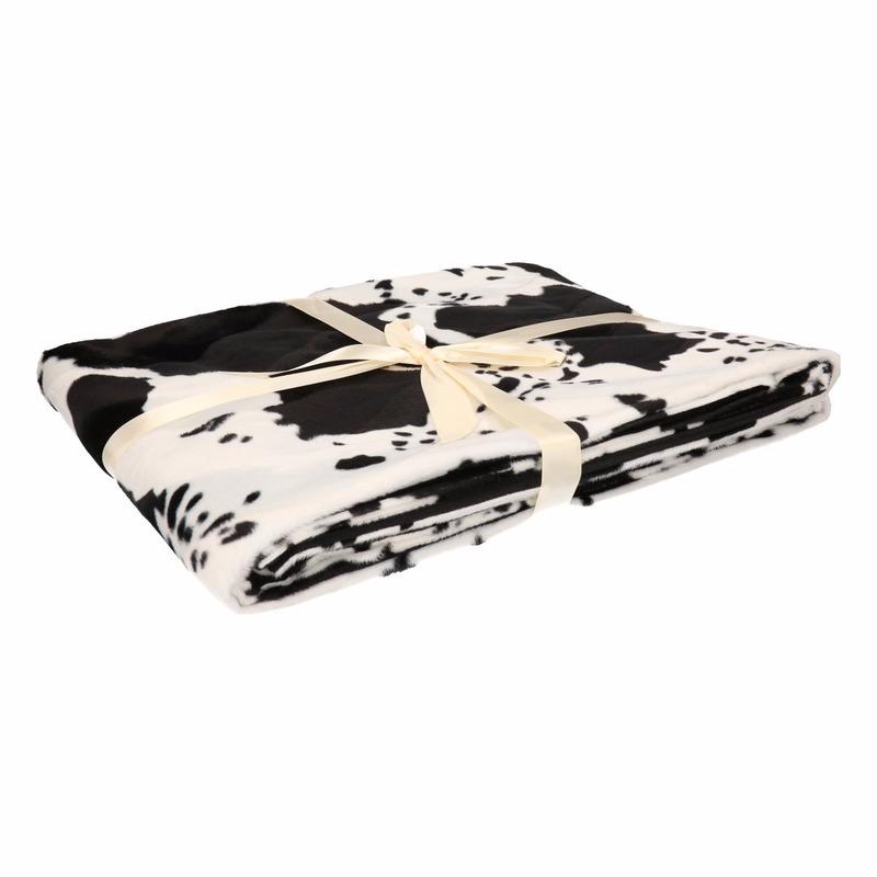 Fleece Deken Wit Met Koeienprint Print 130 X 170 Cm