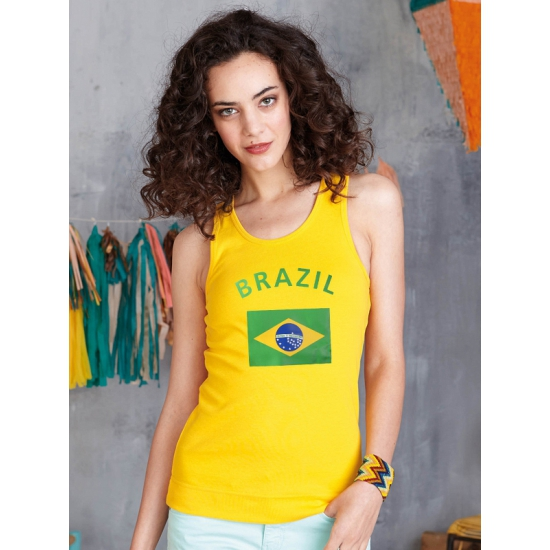 Geel Mouwloos Dames Shirt Brazil