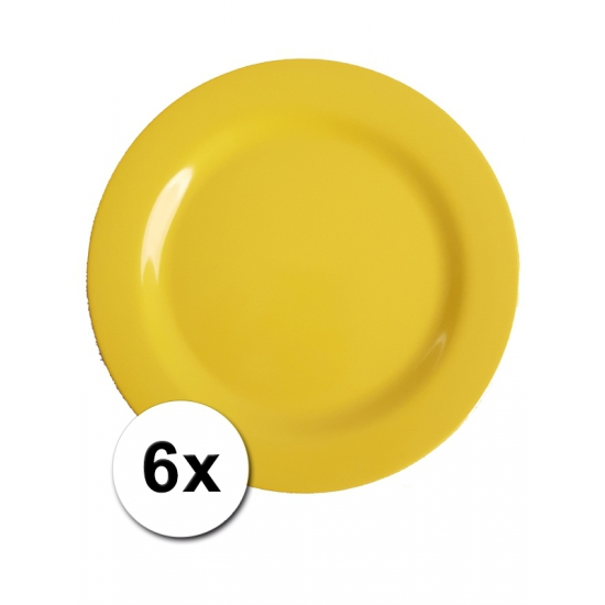 Gele Picknick Bordjes 6 Stuks 25 Cm