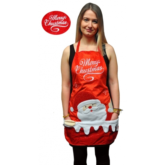 Kerst verkleedkleding schort Merry Christmas