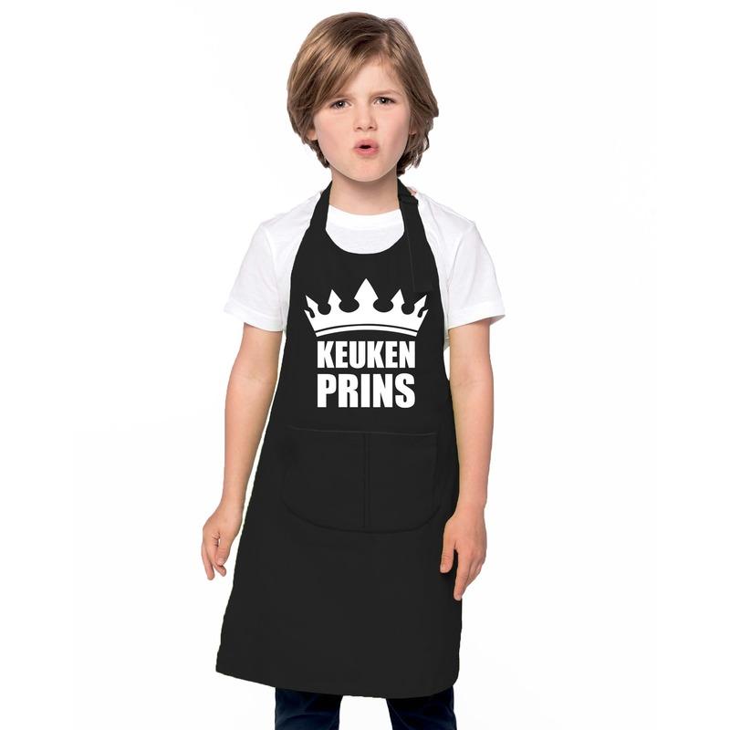 Keukenprins kinderschort zwart jongens