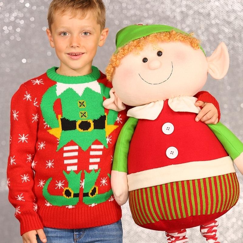 Kinder Kerstmis Trui Met Kerstelf Print