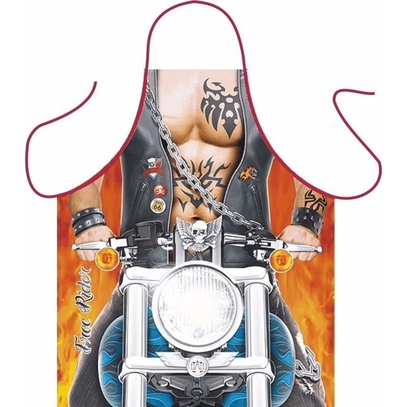 Mannen kado artikelen schort motorrijder