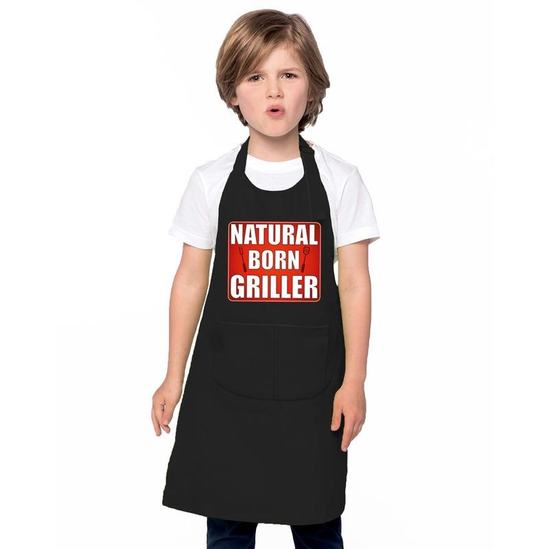 Natrural born griller barbecueschort/ keukenschort zwart kindere