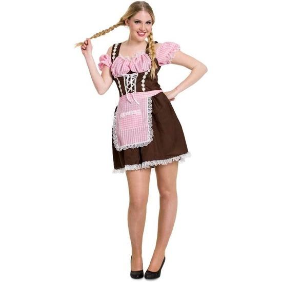 Oktoberfest - Tiroler jurk bruin en roze voor dames