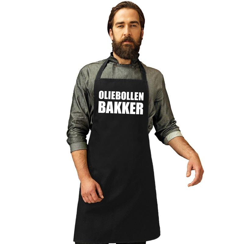 Oliebollen bakker keukenschort zwart voor heren en dames