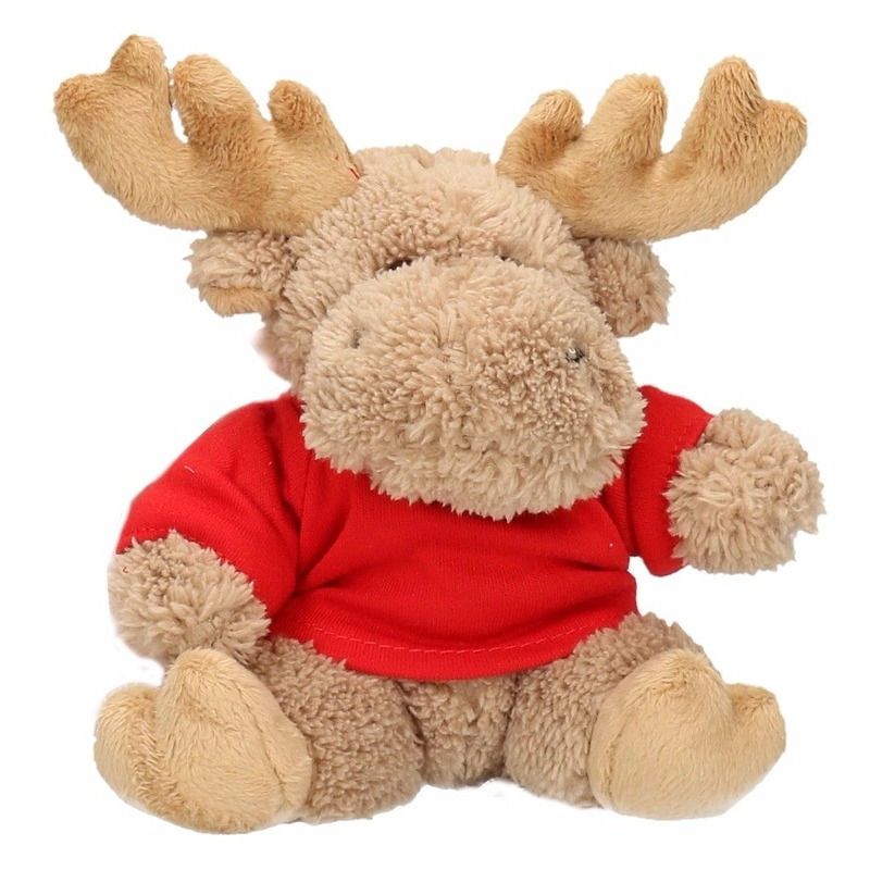 Pluche Eland Kerst Knuffel 15 Cm Met Shirt
