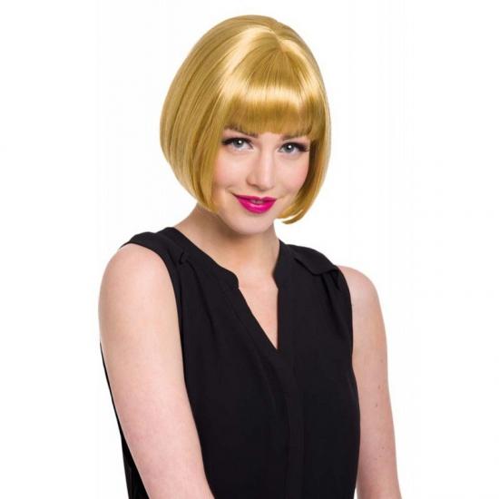 Pruik Met Korte Blonde Boblijn