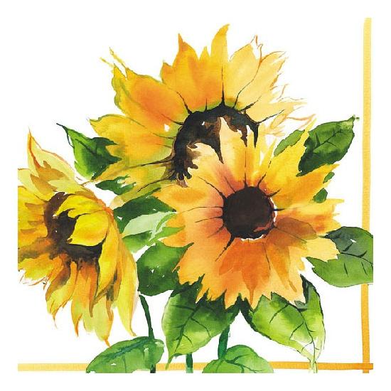 Zonnebloemen servetten 20 stuks. papieren servetten bedrukt met plaatjes van zonnebloemen. de servetten zijn ...