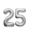 Folie ballonnen zilver 25 jaar huwelijk