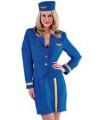 Blauw stewardessen pakje 3 delig