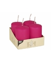 4 Fuchsia roze stompkaarsen 8 cm
