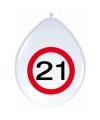 Ballonnen 21 jaar verkeersbord 30 cm
