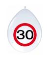 Ballonnen 30 jaar verkeersbord 30 cm