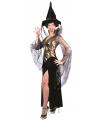 Halloween verkleedkleding heks zwart/goud