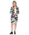 Grijze business suit met televisie print voor dames