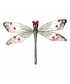 Decoratie libelle rood 10 cm glow in the dark