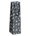 Flessen kadotasje zwart glitter met sterren 11 x 36 cm