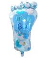 Blauwe geboorte folieballon voetje