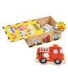 Houten box met voertuig puzzels 6 stuks