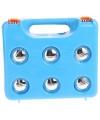 6 ballen Jeu de Boueles in blauwe plastic koffer