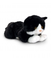 Liggende zwarte katten knuffel 35 cm