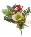 Kerststuk versiering mix wit 17 cm