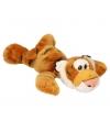 Liggende knuffel tijger met kraaloogjes 33 cm