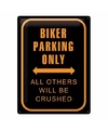 Wanddecoratie bikers parking only 30 x 40 cm