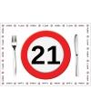 Wegwerp placemats 21 jaar 10 stuks