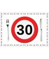 Wegwerp placemats 30 jaar 10 stuks